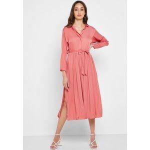 Topshop Pleated Satin Shirt Dress, Summer Ready